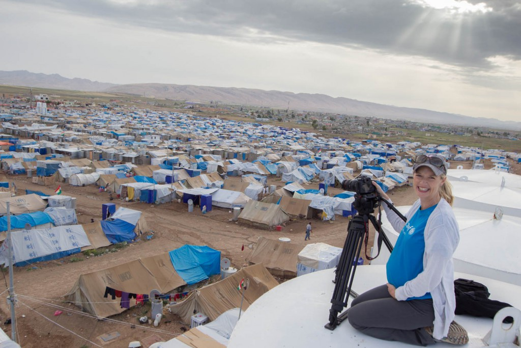 Karin. 8 months pregnant shooting in arefugee camp in Iraq on border of Syria for Unicef. Ethan born 2 weeks later.